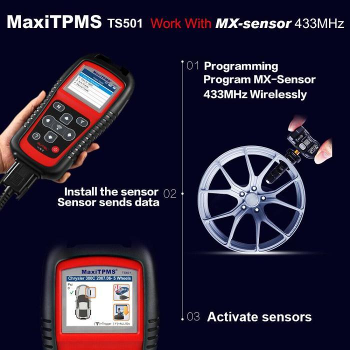 Autel MaxiTPMS TS501 Relearn Tool TPMS Reset, TPMS diagnose, Read/ clear TPMS DTCs, Sensor Activation, Program MX-Sensor, Key