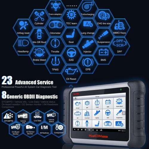 Autel MaxiCOM MK808BT Diagnostic Scan Tool with All System Diagnosis and 21 Services, IMMO, Oil Reset, EPB, BMS, SAS, DPF, ABS