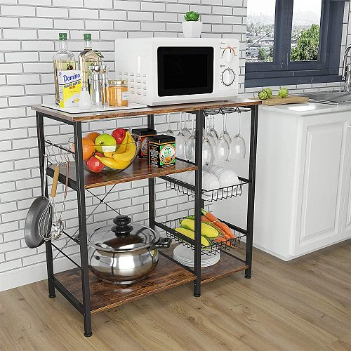 4-Tier+3-Tier Microwave Stand or Coffee Bar Table for Spice Pots ...