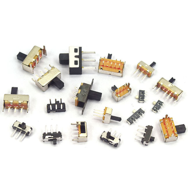 Slide switch single and double row in-line horizontal micro power switch with toggle switch