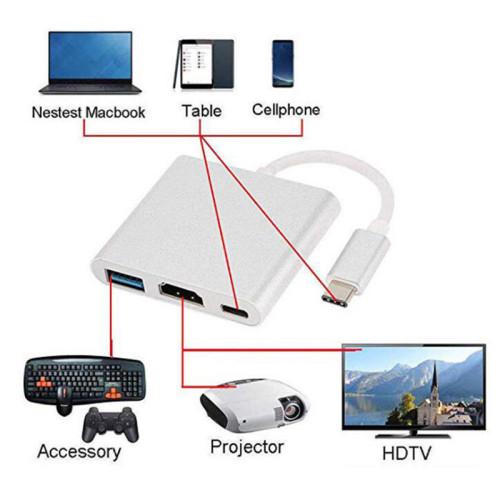 adapterUSB3.1 Type-C to 4K HD-Out 1080p USB-C Digital AV Multiport Adapter 4K OTG USB 3.0 HUB & Charger for Macbook 12