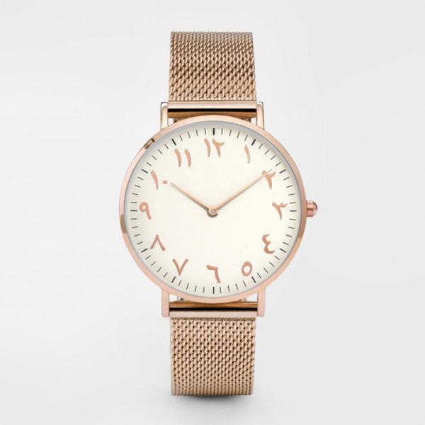 Custom Logo Mens Middle Eastern Arabic Numerals Simple Transparent Retro Quartz Watches