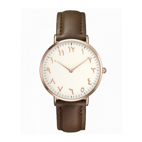 Custom Logo Mens Middle Eastern Arabic Numerals Simple Transparent Retro Quartz Watches
