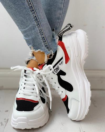 Colorblock Letter Print Lace-Up Platform Sneakers