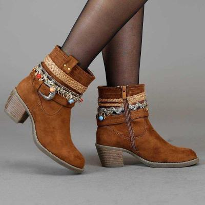 Chunky Heel Zipper Faux Suede Beading Ankle Boots