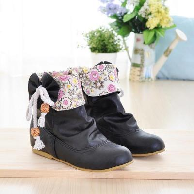 Women's Flower Printed Ankle Boots Shoes Autumn and Winter 5616