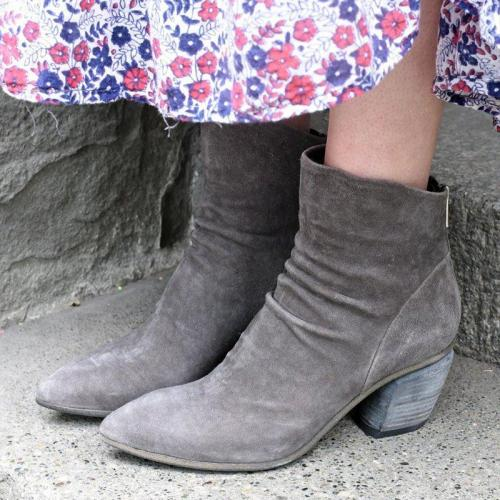 Women Stylish Block Heel Faux Suede Back Zipper Ankle Boots