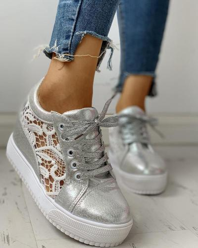 Solid Embroidery Breathable Lace-Up Sneakers