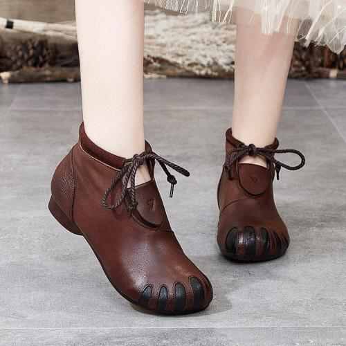Lace-Up Daily Flat Heel Ankle Boots