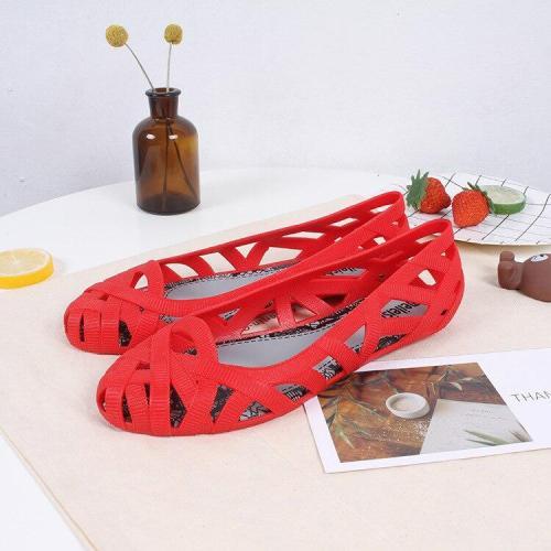 New Summer Jelly Shoes Solid Color Nest Sandals Roman Beach Shoes Baotou  Womens Shoes