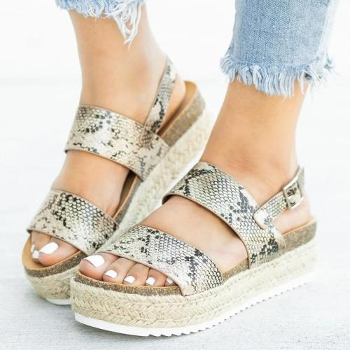Woman Sandals 2019 Summer Platform Sandals For Women Shoes Casual Fashion Straw Cake Thick Bottom Toe Roman Wind Flat Sandals