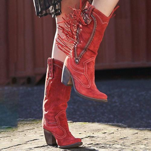 Women Slide Pointed Toe Artificial Suede Fall Chunky Heel Tassel Casual Mid-Calf Boots