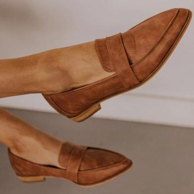 Women's casual solid color round leather shoes RY22