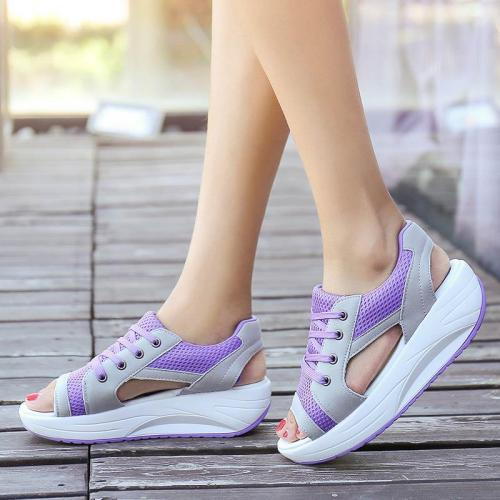 Wedges summer casual shoes women sneakers 2020 lace-up breathable mesh platform shoes woman sneakers zapatos de mujer