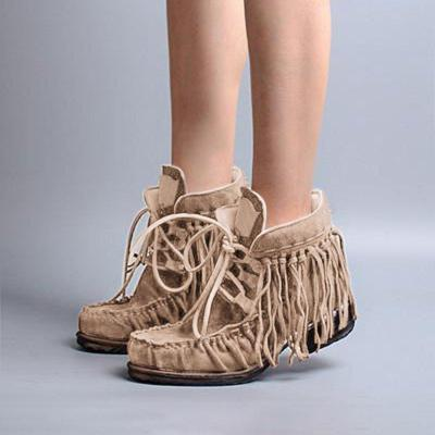 Fringe Ankle Boots Artificial Leather Block Heel Boho Boots