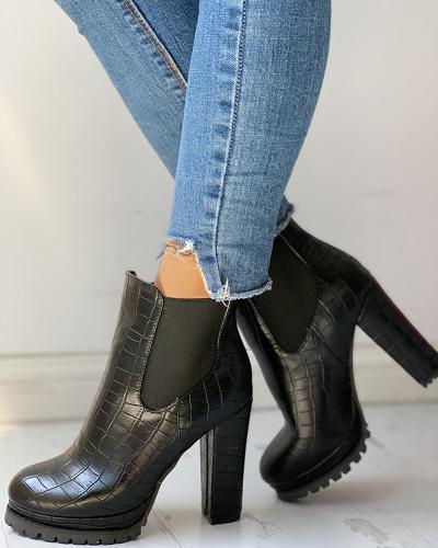 Solid Platform PU Chunky Heeled Boots