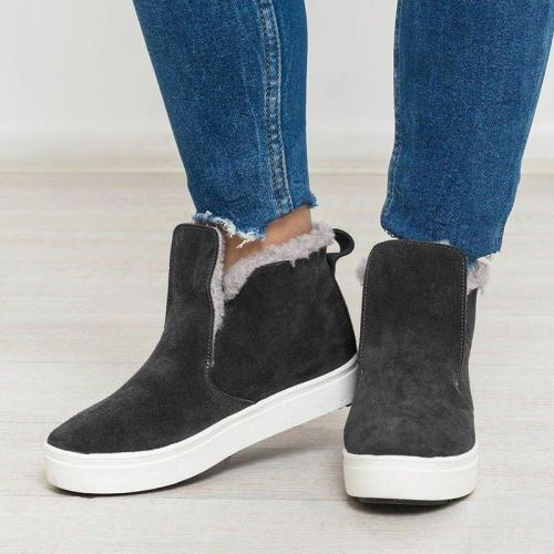 Winter Fur Lined Round Toe Slip-On Flat Heel Warm Snow Boots