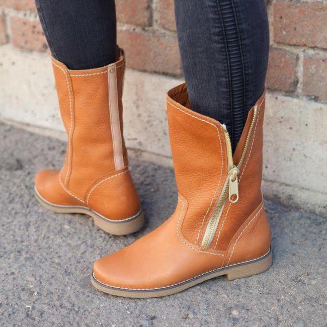 Plus Size Stylish Leather Zipper Flat Heel Fall Ankle Booties
