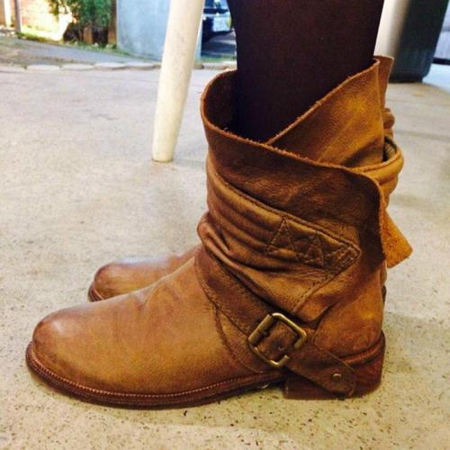 Buckle Strap Low Heel All Season Round Toe Boots