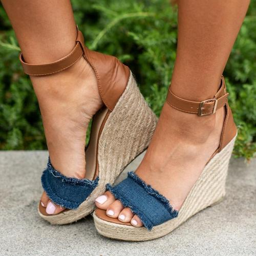 Women Canvas Wedge Sandals Plus Size Adjustable Buckle Shoes