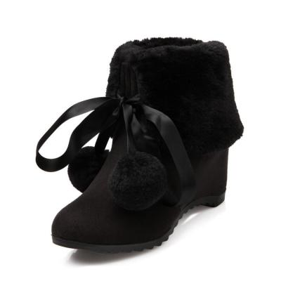 Women's Ball Tassel Snow Boots Wedge Heels Shoes Autumn and Winter 8574
