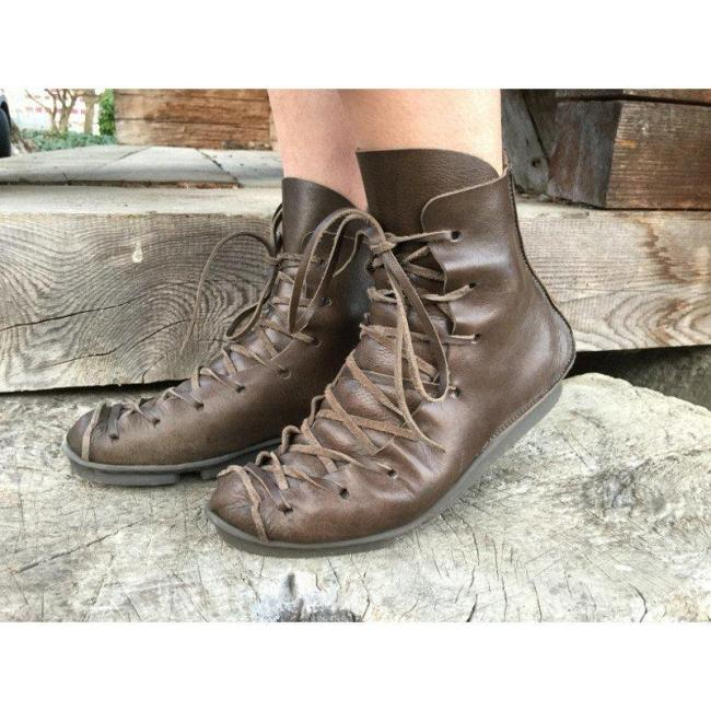 Fall Fashion Lacec Up Low Heel Ankle Boots