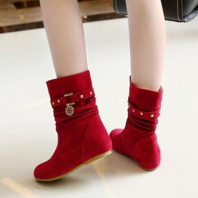 Studded Wedge Short Boots Plus Size Women Shoes 3035