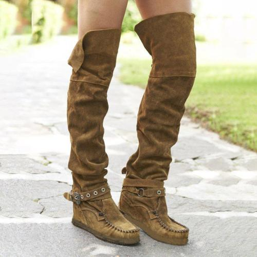 Adjustable Buckle Flat Heel Boots Over The Knee Casual Boots