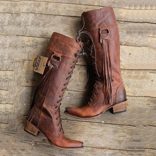 Retro Tassel Lace Up Chunky Heel Knee Boots