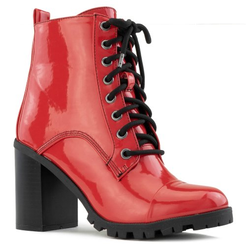 Women's Lug Sole Platform Light Weight Stacked Heel  Ankle Boots RED