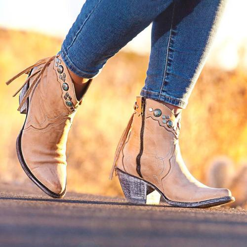 Women Vintage Fall Zipper Chunky Heel Tassel Booties