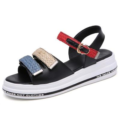 Shoes woman sandals 2019 new fashion weaved buckled women sandals hook & loop beach sandals women shoes  zapatos de mujer