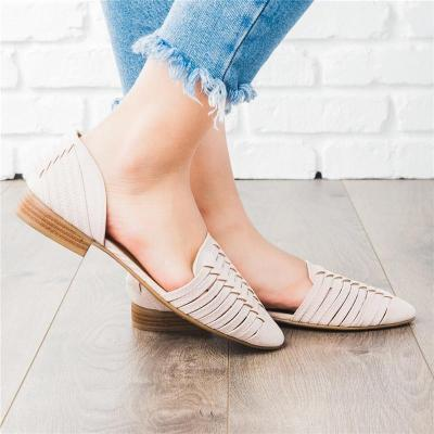 2019 Square Heel Cross Strap Plain Hollow Flat Loafers