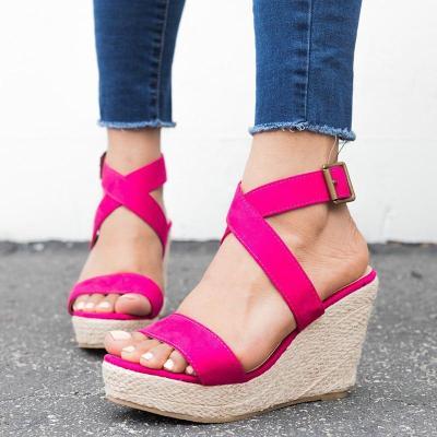 Women Wedge Sandals Criss Cross Strap Adjustable Buckle Shoes