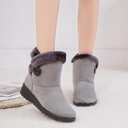 Simple Warm  Slip-on Wedge Heel Snow Boots