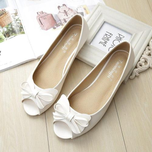 Flats Women's Summer 2019 New Peep Toe Shoes Sweet Bow Comfortable Soft Sole Big Size Women's Office Work Shoes YX0013