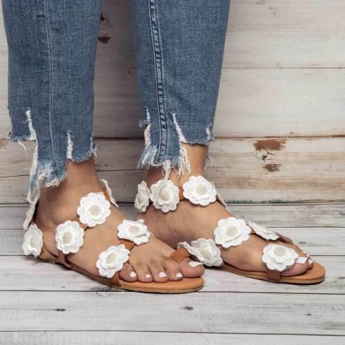 Womens Beach White Summer Pu Flower Sandals