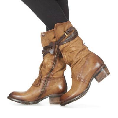 Women Winter Vintage Slip-On Zipper Buckle Boots