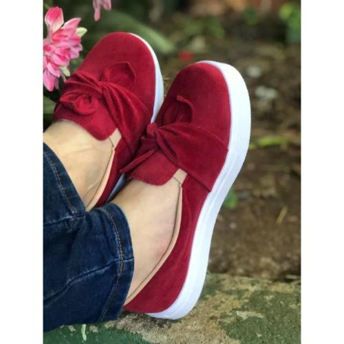 Woman Bowknot Solid Casual Velvet Sneakers Flats Loafers