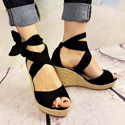 Plus Size Peep Toe Bandage Espadrilles Wedge Sandals