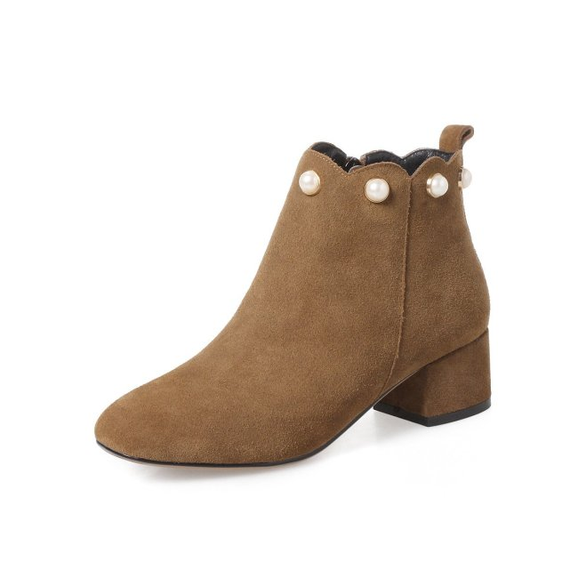 Square Head Pearl Leather Autumn Winter Short Boots