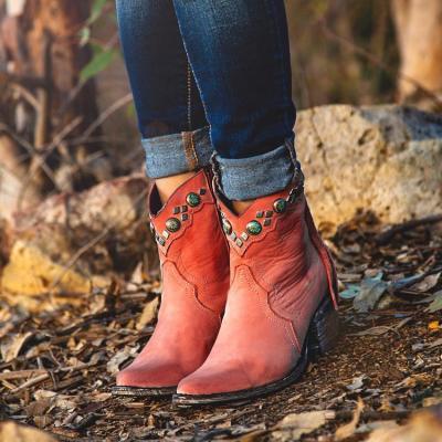 Women Vintage Fall Zipper Chunky Heel Tassel Booties