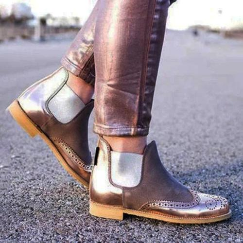 Plus Size Split Joint Chunky Heel Chelsea Boots
