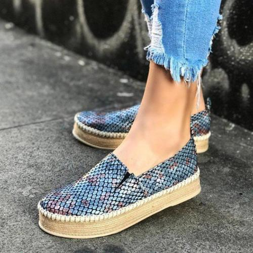 Plus Size Snakeskin Leather Loafers Slip On Espadrille Sneakers