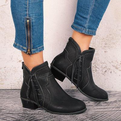 Low Heel Side Hollow Out Casual Zip Ankle Boots