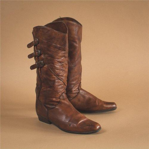 Adjustable Buckle Artificial Leather Low Heel Knee Boots