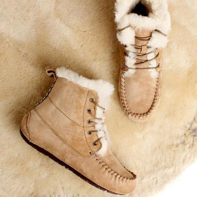 Fur Lined Flat Heel Lace-Up Snow Boots Womens Warm Winter Shoes