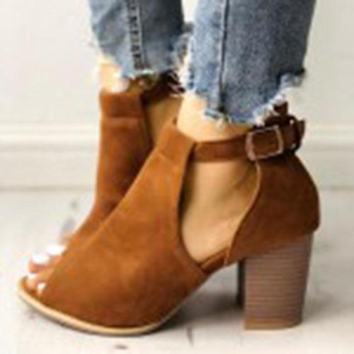 Woman Adjustable Buckle Open Toe Block Heel Pumps Sandals