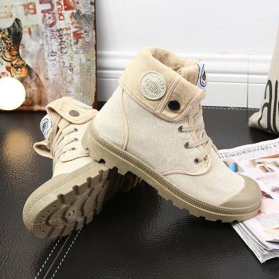 Womens Wearable Daily Lace-up Flat Heel Boots