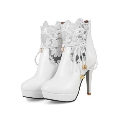 Women's Motorcycle Boots Fall Winter High-heeled Lace Ankle Boots